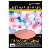 Цветная бумага, А4, перламутровая, 10 цветов, 80 г/м2, BRAUBERG