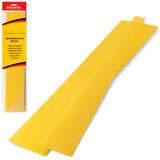 Цветная бумага крепированная BRAUBERG, стандарт, растяжение до 65%, 25 г/м2, европодвес, желтая, 50х200 см