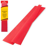 Цветная бумага крепированная BRAUBERG, стандарт, растяжение до 65%, 25 г/м2, европодвес, красная, 50х200 см