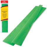Цветная бумага крепированная BRAUBERG, стандарт, растяжение до 65%, 25 г/м2, европодвес, зеленая, 50х200 см