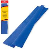 Цветная бумага крепированная BRAUBERG, стандарт, растяжение до 65%, 25 г/м2, европодвес, синяя, 50х200 см