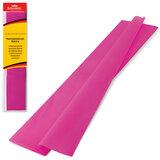 Цветная бумага крепированная BRAUBERG, стандарт, растяжение до 65%, 25 г/м2, европодвес, темно-розовая, 50х200 см