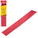 Цветная бумага крепированная BRAUBERG, металлик, растяжение до 35%, 50 г/м2, европодвес, красная, 50х100 см