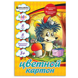 "Цветной картон, А4, 8 цветов, 215 г/м2, BRAUBERG ""Ежик"", 200х290 мм"