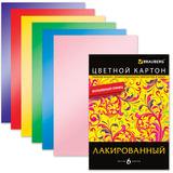 Цветной картон, А4, лакированный, с волшебным глянцем, 6 цветов, 200 г/м2, BRAUBERG, 200х290 мм