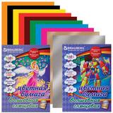 Цветная бумага, А4, мелованная волшебная, 10 цветов, 2 вида, BRAUBERG, 200х275 мм