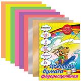 Цветная бумага, А4, флуоресцентная мелованная, волшебная, 8 цветов, скрепка, BRAUBERG, 200х280 мм