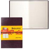 "Бизнес-блокнот BRAUBERG, А5, 148х218 мм, ""Western"", гладкий кожзам, резинка, клетка, 128 л., коричневый"