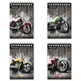 """Блокнот А5, 80 л., гребень, мелованный картон обложка, клетка, BRAUBERG, """"Мотоциклы"""", 4 вида, 146х206 мм"""