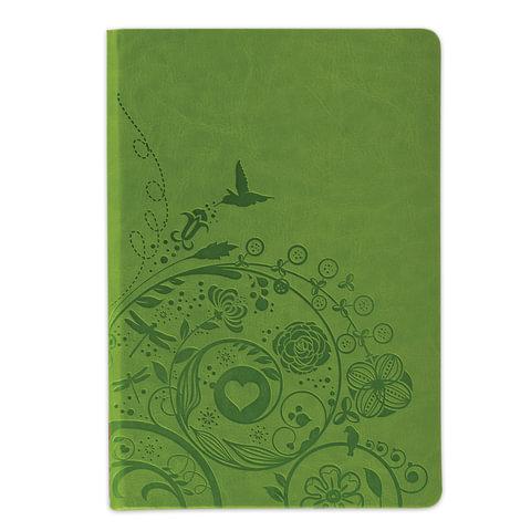 "Бизнес-блокнот BRAUBERG, А5, 148х218 мм, ""Feelings"", кожзаменитель с тиснением, линия, 128 л., зелёный"