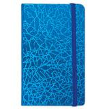 "Бизнес-блокнот BRAUBERG, А7+, 95х145 мм, ""Irida"", кожзаменитель металлик, резинка, линия, 64 л., синий"