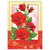 """Бланк """"Поздравительный"""", А4 (в развороте 420х297 мм), мелованный картон, фольга, BRAUBERG, """"Розы"""""""