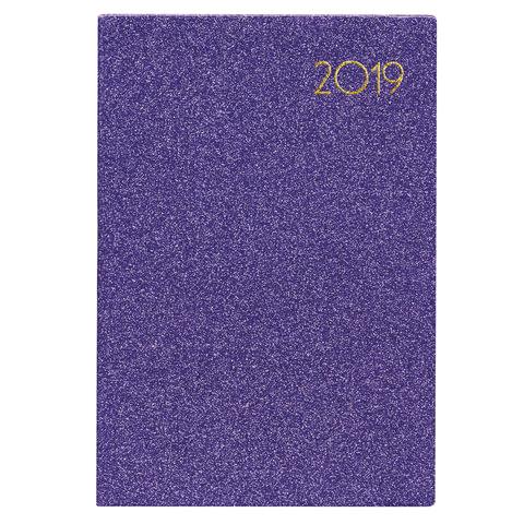 """Ежедневник датированный 2019, А5, BRAUBERG """"Holiday"""", кожзам, блёстки, фиолетовый, 138х213 мм"""