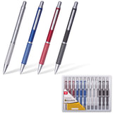 """Ручка бизнес-класса шариковая BRAUBERG """"Breeze"""", корпус ассорти, серебристые детали, 1 мм, синяя"""