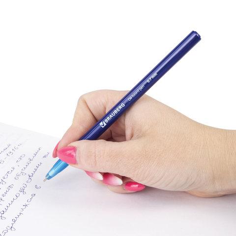 "Ручка шариковая масляная BRAUBERG ""Oil Base"", корпус синий, узел 0,7 мм, линия 0,35 мм, синяя"