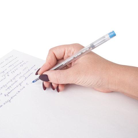 """Ручка шариковая масляная BRAUBERG """"Ice"""", корпус прозрачный, узел 0,6 мм, линия 0,3 мм, синяя"""