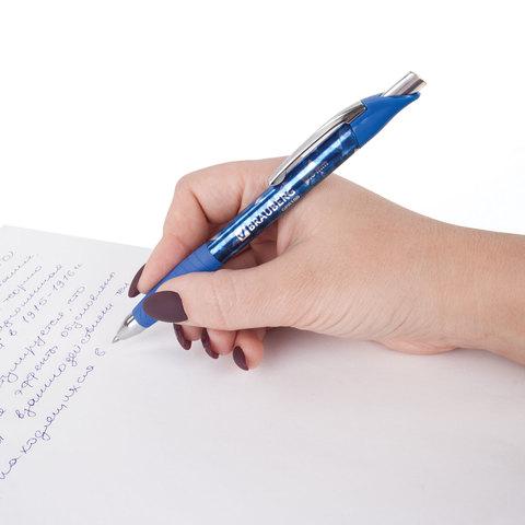 """Ручка гелевая автоматическая BRAUBERG """"Metropolis Gel"""", корпус с печатью, узел 0,6 мм, линия 0,4 мм, синяя"""