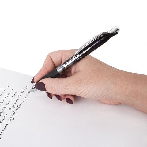 """Ручка гелевая автоматическая BRAUBERG """"Metropolis Gel"""", корпус с печатью, узел 0,6 мм, линия 0,4 мм, черная"""