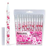 """Фломастеры BRAUBERG """"Sweetheart"""", 12 цветов, вентилируемый колпачок, корпус с печатью, пластиковая упаковка"""