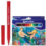 """Фломастеры BRAUBERG """"Морские легенды"""", 18 цветов, вентилируемый колпачок, картонная упаковка с блестками"""