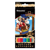 """Карандаши цветные BRAUBERG """"Корсары"""", 12 цветов, заточенные, картонная упаковка с фольгой"""