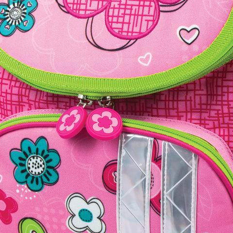 """Ранец жесткокаркасный BRAUBERG для учениц начальной школы, """"Цветы и бабочка"""", 17 литров, 34х26х16 см"""