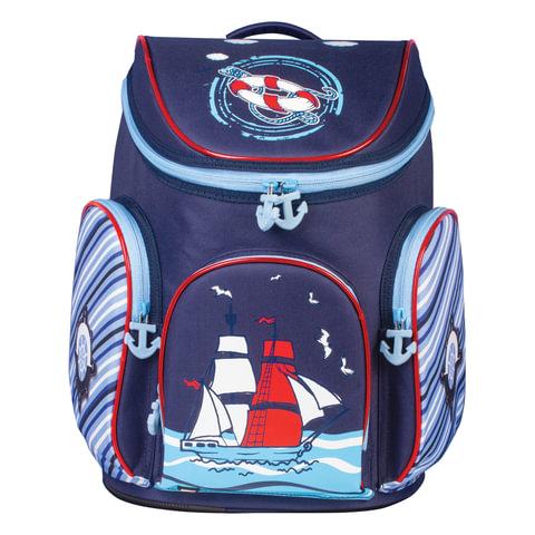 """Ранец жесткокаркасный BRAUBERG для учеников начальной школы, """"Корабль"""", 14 литров, 38х29х19 см"""