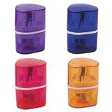 """Точилка BRAUBERG """"Case"""" с контейнером, пластиковая, треугольная, двухсторонняя, 3 отверстия, ассорти"""