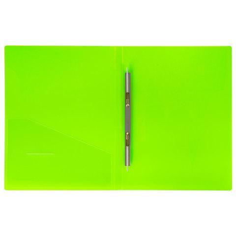 """Папка с металлическим скоросшивателем и внутренним карманом BRAUBERG """"Neon"""", 16 мм, зеленая, до 100 листов, 0,7 мм"""