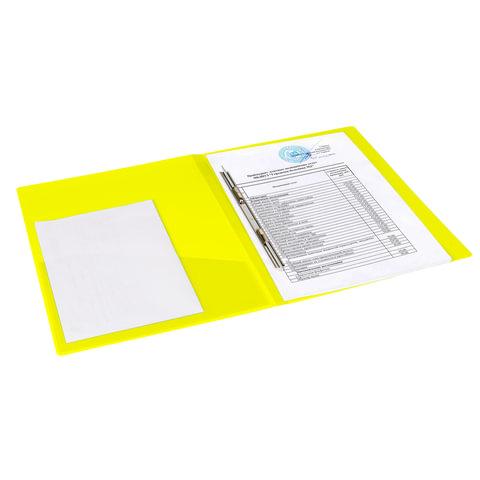 """Папка с металлическим скоросшивателем и внутренним карманом BRAUBERG """"Neon"""", 16 мм, желтая, до 100 листов, 0,7 мм"""