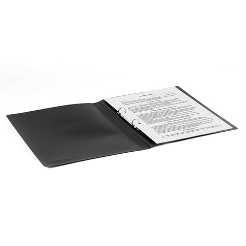 """Папка на 2 кольцах BRAUBERG """"Office"""", 25 мм, черная, до 170 листов, 0,5 мм"""