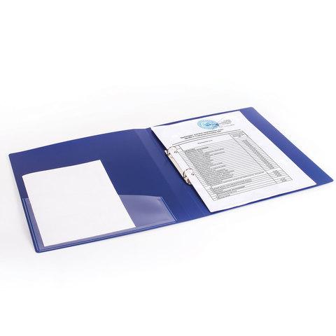 """Папка на 2 кольцах с внутренним карманом BRAUBERG """"Шелк"""", 25 мм, синяя, до 170 листов, 0,7 мм"""