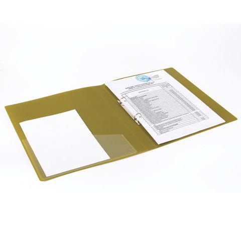 """Папка на 2 кольцах с внутренним карманом BRAUBERG """"Шелк"""", 25 мм, бронза, до 170 листов, 0,7 мм"""