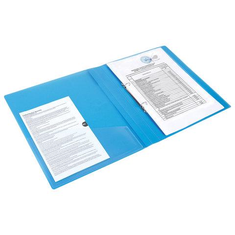 """Папка на 2 кольцах с внутренним карманом BRAUBERG """"Диагональ"""", 25 мм, тонированная синяя, до 170 листов, 0,7 мм"""