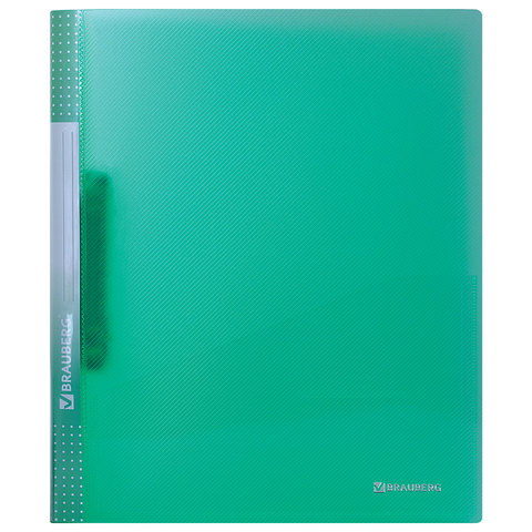 """Папка на 2 кольцах с внутренним карманом BRAUBERG """"Диагональ"""", 25 мм, тонированная зеленая, до 170 листов, 0,7 мм"""