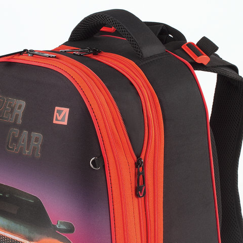 Ранец BRAUBERG EXTRA, 2 отделения, анатомическая спинка, дополнительный объем, для мальчиков, Авто, 39х28х19 см