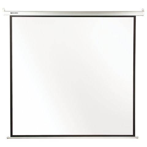 Экран проекционный BRAUBERG MOTO, матовый, настенный, электропривод, 180х180 см, 1:1