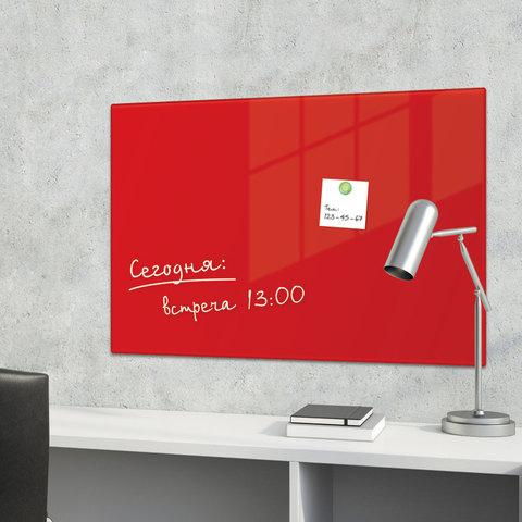 Доска магнитно-маркерная стеклянная, красная, 40х60 см, 3 магнита, BRAUBERG