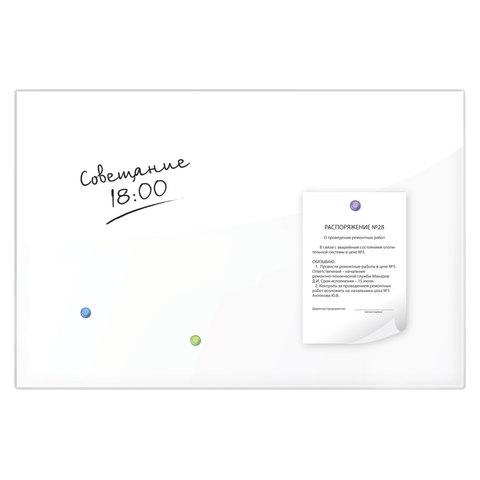 Доска магнитно-маркерная стеклянная, белая, 60х90 см, 3 магнита, BRAUBERG