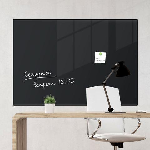 Доска магнитно-маркерная стеклянная, черная, 60х90 см, 3 магнита, BRAUBERG