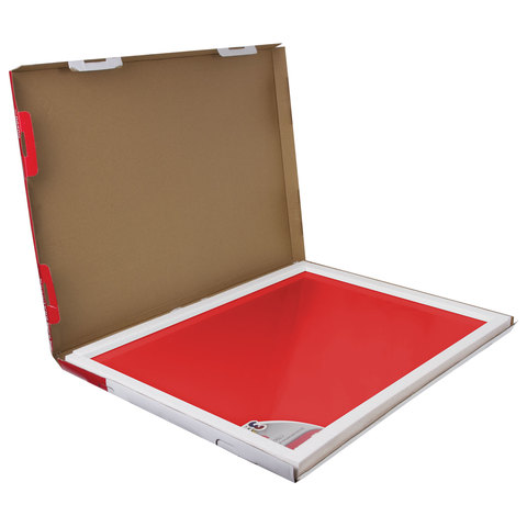 Доска магнитно-маркерная стеклянная, красная, 60х90 см, 3 магнита, BRAUBERG