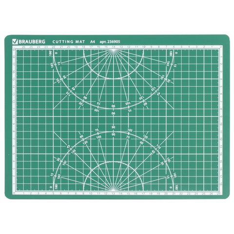 Мат для резки BRAUBERG, А4, 300х220 мм, двусторонний, 3-слойный, толщина 3 мм, сантиметровая шкала